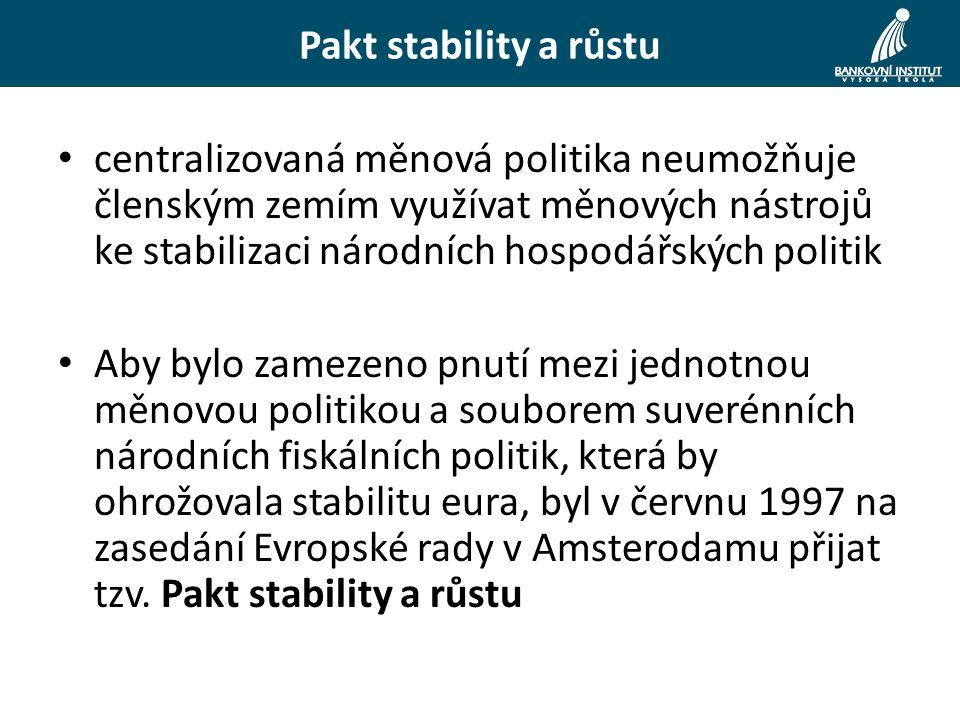 centralizovaná měnová politika neumožňuje členským zemím využívat měnových nástrojů ke stabilizaci národních hospodářských politik Aby bylo zamezeno pnutí mezi jednotnou měnovou politikou a souborem suverénních národních fiskálních politik, která by ohrožovala stabilitu eura, byl v červnu 1997 na zasedání Evropské rady v Amsterodamu přijat tzv.