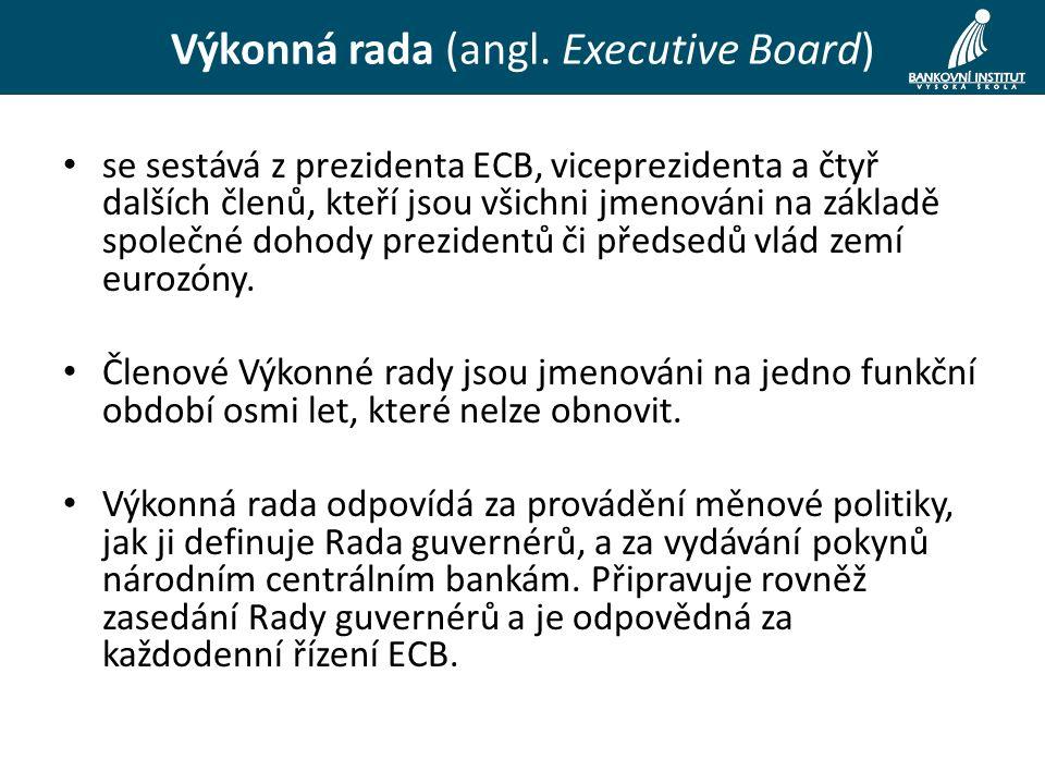 se sestává z prezidenta ECB, viceprezidenta a čtyř dalších členů, kteří jsou všichni jmenováni na základě společné dohody prezidentů či předsedů vlád zemí eurozóny.