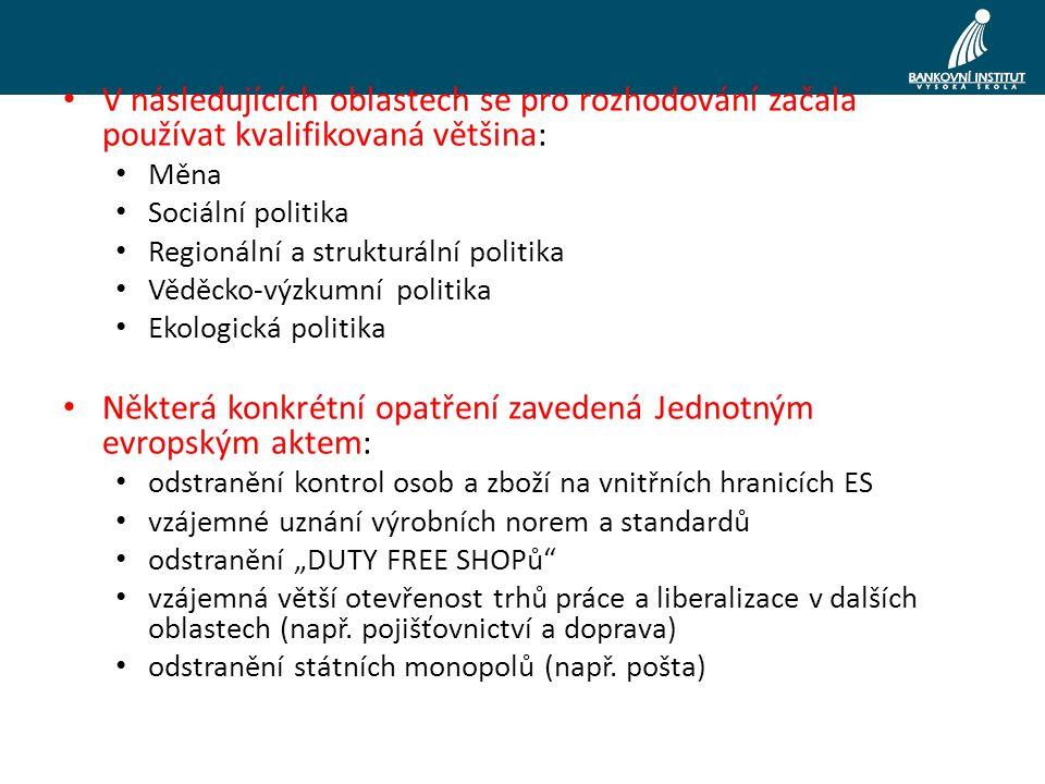 """V následujících oblastech se pro rozhodování začala používat kvalifikovaná většina: Měna Sociální politika Regionální a strukturální politika Věděcko-výzkumní politika Ekologická politika Některá konkrétní opatření zavedená Jednotným evropským aktem: odstranění kontrol osob a zboží na vnitřních hranicích ES vzájemné uznání výrobních norem a standardů odstranění """"DUTY FREE SHOPů vzájemná větší otevřenost trhů práce a liberalizace v dalších oblastech (např."""