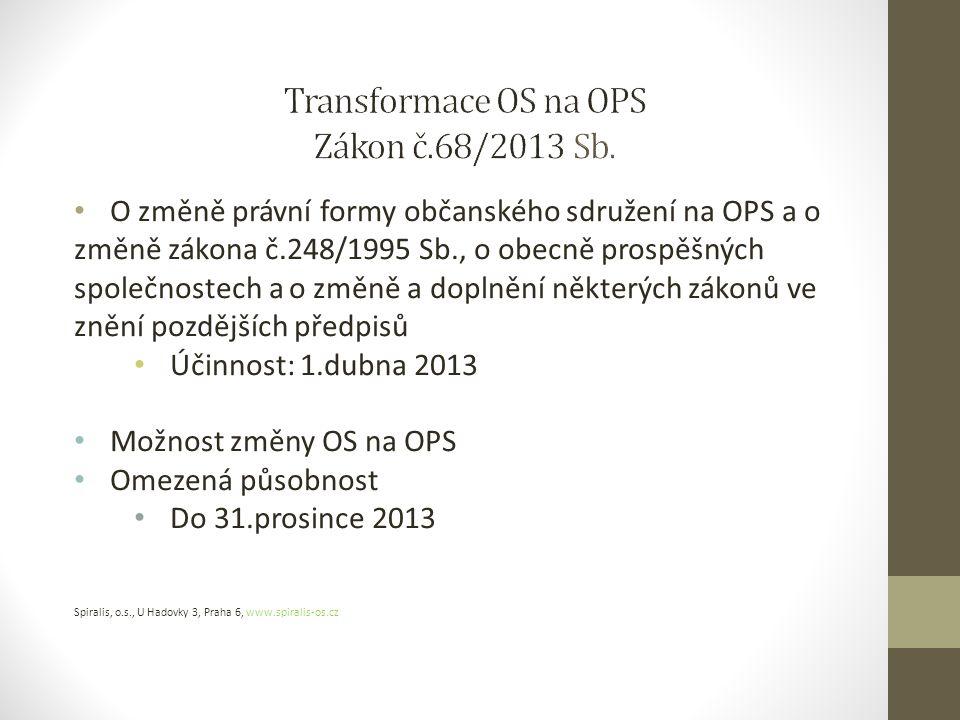 O změně právní formy občanského sdružení na OPS a o změně zákona č.248/1995 Sb., o obecně prospěšných společnostech a o změně a doplnění některých zákonů ve znění pozdějších předpisů Účinnost: 1.dubna 2013 Možnost změny OS na OPS Omezená působnost Do 31.prosince 2013 Spiralis, o.s., U Hadovky 3, Praha 6, www.spiralis-os.cz