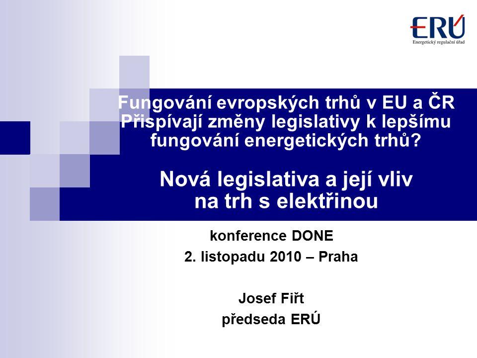 Fungování evropských trhů v EU a ČR Přispívají změny legislativy k lepšímu fungování energetických trhů.
