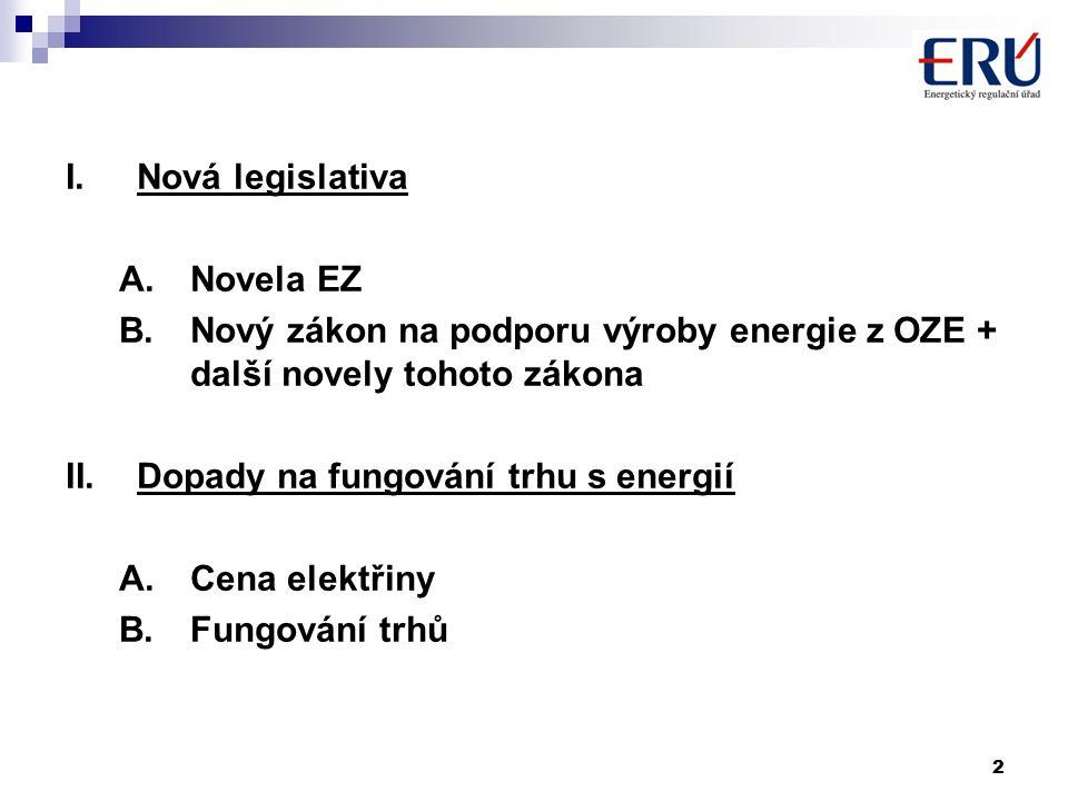 2 I.Nová legislativa A.Novela EZ B.Nový zákon na podporu výroby energie z OZE + další novely tohoto zákona II.Dopady na fungování trhu s energií A.Cena elektřiny B.Fungování trhů