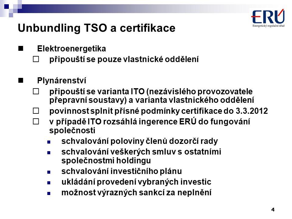 4 Unbundling TSO a certifikace Elektroenergetika  připouští se pouze vlastnické oddělení Plynárenství  připouští se varianta ITO (nezávislého provozovatele přepravní soustavy) a varianta vlastnického oddělení  povinnost splnit přísné podmínky certifikace do 3.3.2012  v případě ITO rozsáhlá ingerence ERÚ do fungování společnosti schvalování poloviny členů dozorčí rady schvalování veškerých smluv s ostatními společnostmi holdingu schvalování investičního plánu ukládání provedení vybraných investic možnost výrazných sankcí za neplnění