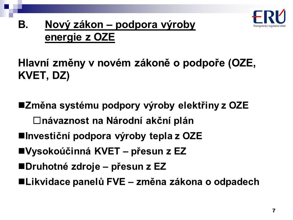 7 B.Nový zákon – podpora výroby energie z OZE Hlavní změny v novém zákoně o podpoře (OZE, KVET, DZ) Změna systému podpory výroby elektřiny z OZE  návaznost na Národní akční plán Investiční podpora výroby tepla z OZE Vysokoúčinná KVET – přesun z EZ Druhotné zdroje – přesun z EZ Likvidace panelů FVE – změna zákona o odpadech