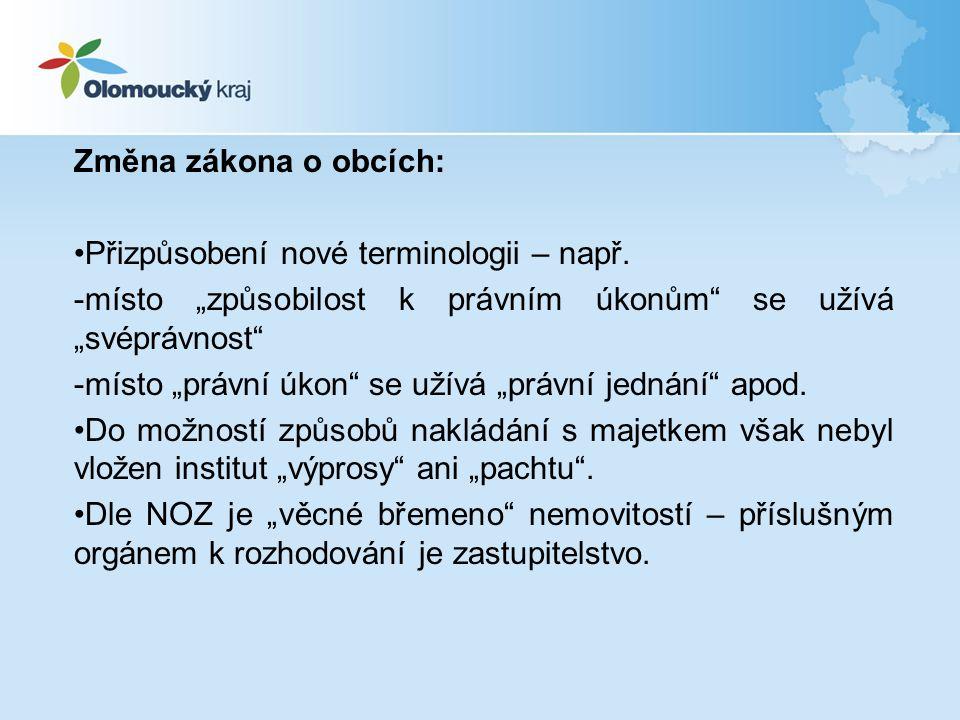Změna zákona o obcích: Přizpůsobení nové terminologii – např.