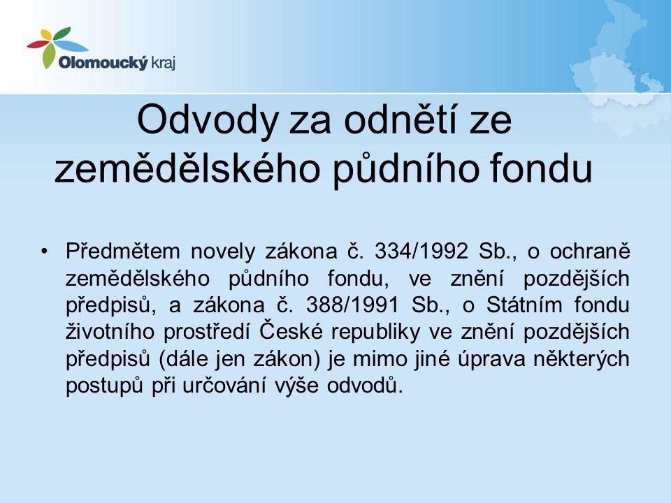 Odvody za odnětí ze zemědělského půdního fondu Předmětem novely zákona č.