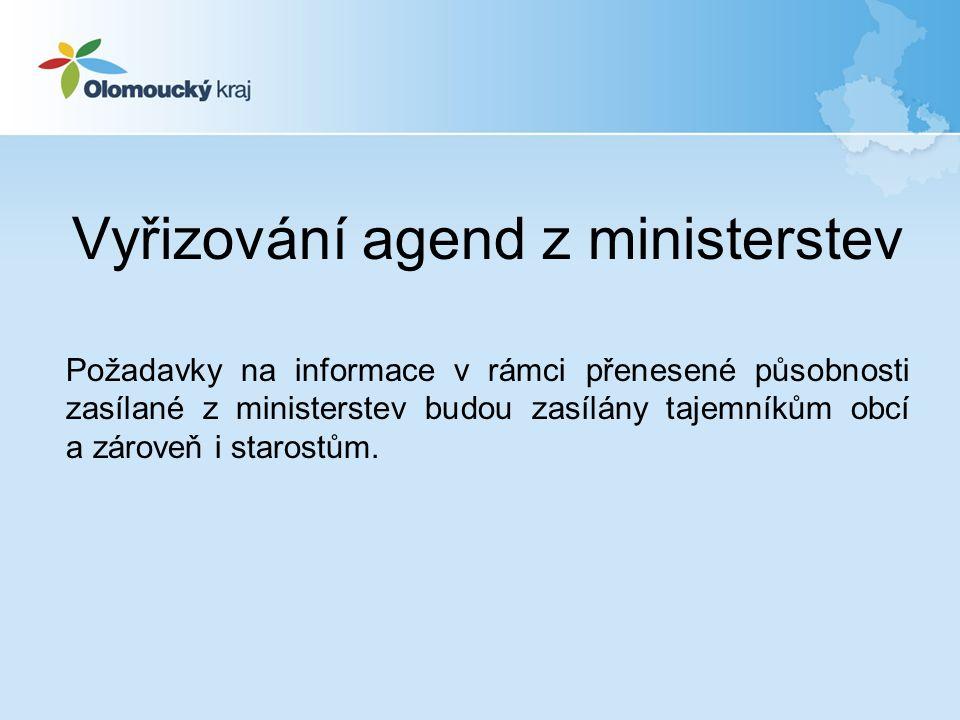 Vyřizování agend z ministerstev Požadavky na informace v rámci přenesené působnosti zasílané z ministerstev budou zasílány tajemníkům obcí a zároveň i starostům.