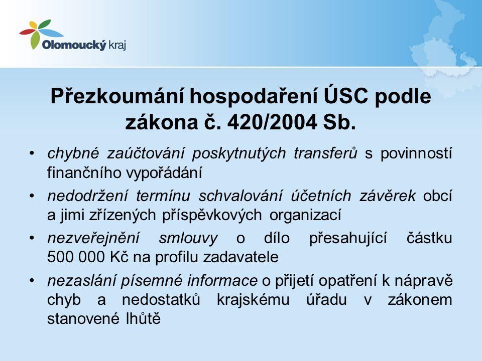 Přezkoumání hospodaření ÚSC podle zákona č.420/2004 Sb.