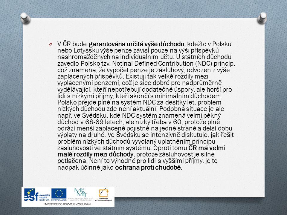 O V ČR bude garantována určitá výše důchodu, kdežto v Polsku nebo Lotyšsku výše penze závisí pouze na výši příspěvků nashromážděných na individuálním účtu.