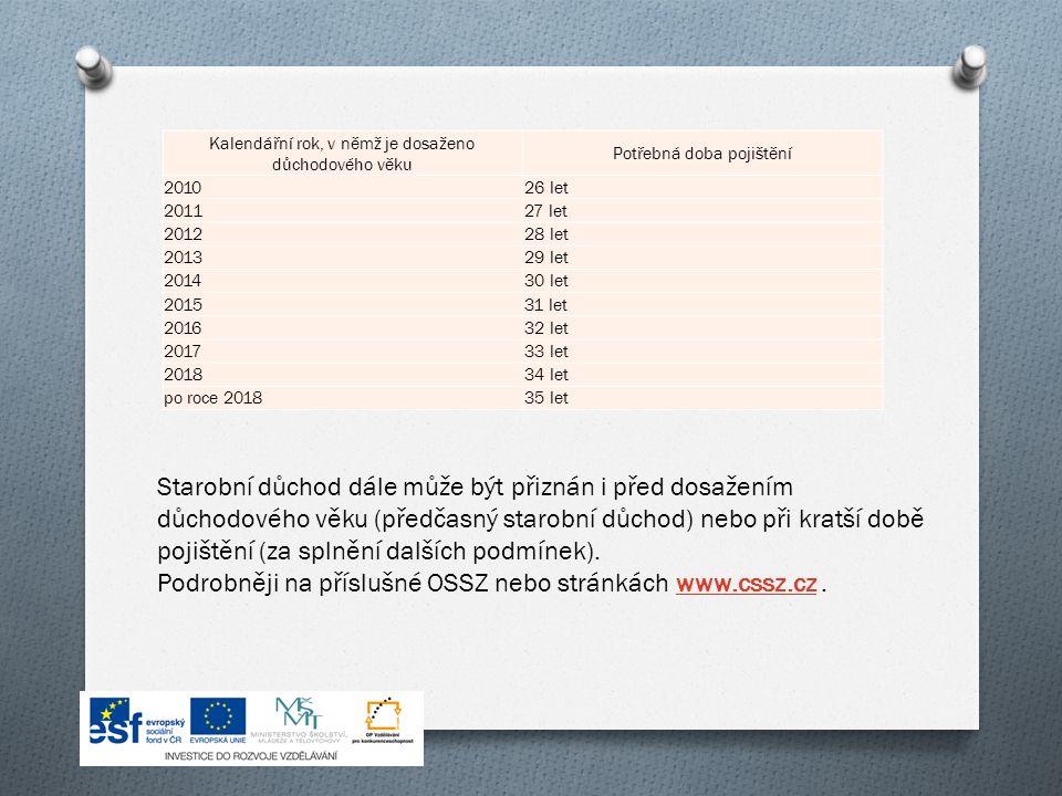Kalendářní rok, v němž je dosaženo důchodového věku Potřebná doba pojištění 201026 let 201127 let 201228 let 201329 let 201430 let 201531 let 201632 let 201733 let 201834 let po roce 201835 let Starobní důchod dále může být přiznán i před dosažením důchodového věku (předčasný starobní důchod) nebo při kratší době pojištění (za splnění dalších podmínek).