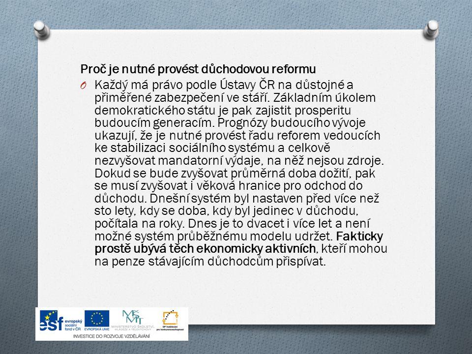 Proč je nutné provést důchodovou reformu O Každý má právo podle Ústavy ČR na důstojné a přiměřené zabezpečení ve stáří.