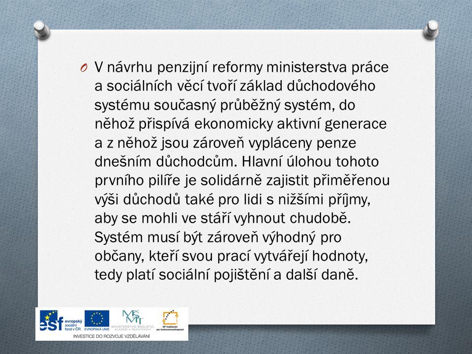 O V návrhu penzijní reformy ministerstva práce a sociálních věcí tvoří základ důchodového systému současný průběžný systém, do něhož přispívá ekonomicky aktivní generace a z něhož jsou zároveň vypláceny penze dnešním důchodcům.