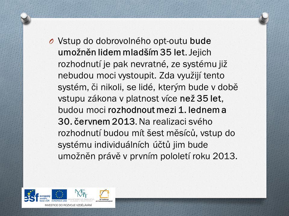 O Vstup do dobrovolného opt-outu bude umožněn lidem mladším 35 let.