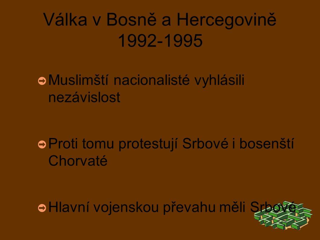 Válka v Bosně a Hercegovině 1992-1995 ➲ Muslimští nacionalisté vyhlásili nezávislost ➲ Proti tomu protestují Srbové i bosenští Chorvaté ➲ Hlavní vojenskou převahu měli Srbové ➲ Bosenští Chorvaté uzavřeli s muslimy dohodu