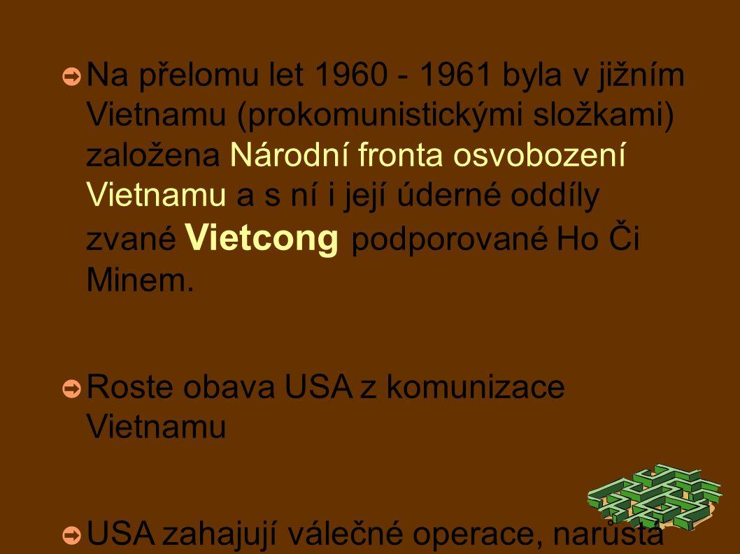 ➲ Na přelomu let 1960 - 1961 byla v jižním Vietnamu (prokomunistickými složkami) založena Národní fronta osvobození Vietnamu a s ní i její úderné oddíly zvané Vietcong podporované Ho Či Minem.