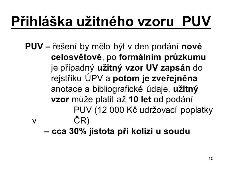 10 Přihláška užitného vzoru PUV PUV – řešení by mělo být v den podání nové celosvětově, po formálním průzkumu je případný užitný vzor UV zapsán do rejstříku ÚPV a potom je zveřejněna anotace a bibliografické údaje, užitný vzor může platit až 10 let od podání PUV (12 000 Kč udržovací poplatky v ČR) – cca 30% jistota při kolizi u soudu