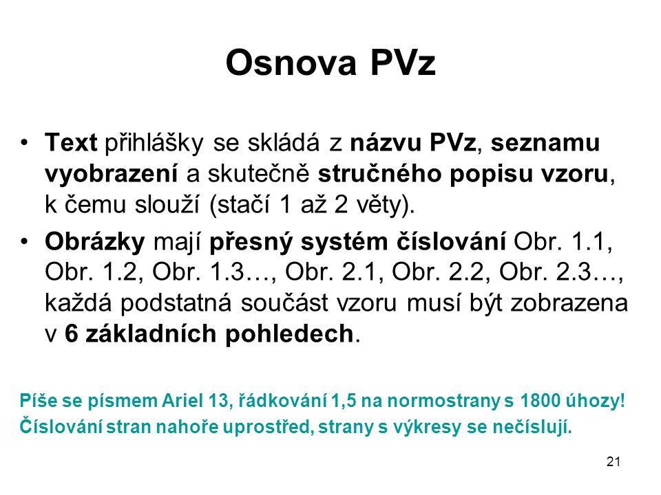 21 Osnova PVz Text přihlášky se skládá z názvu PVz, seznamu vyobrazení a skutečně stručného popisu vzoru, k čemu slouží (stačí 1 až 2 věty).