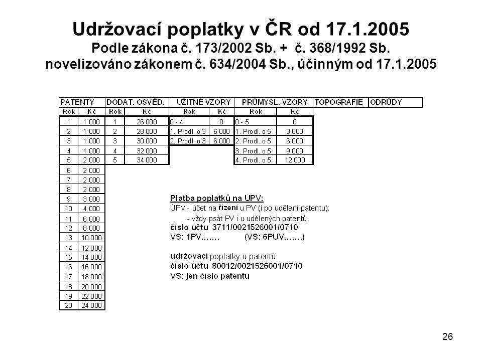 26 Udržovací poplatky v ČR od 17.1.2005 Podle zákona č.
