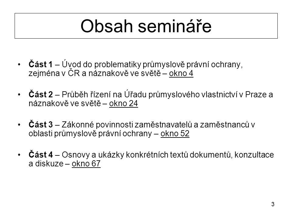 4 ČÁST 1 Úvod do problematiky průmyslově právní ochrany, zejména v ČR a náznakově ve světě