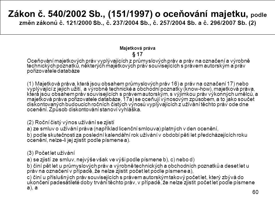 60 Zákon č. 540/2002 Sb., (151/1997) o oceňování majetku, podle změn zákonů č.