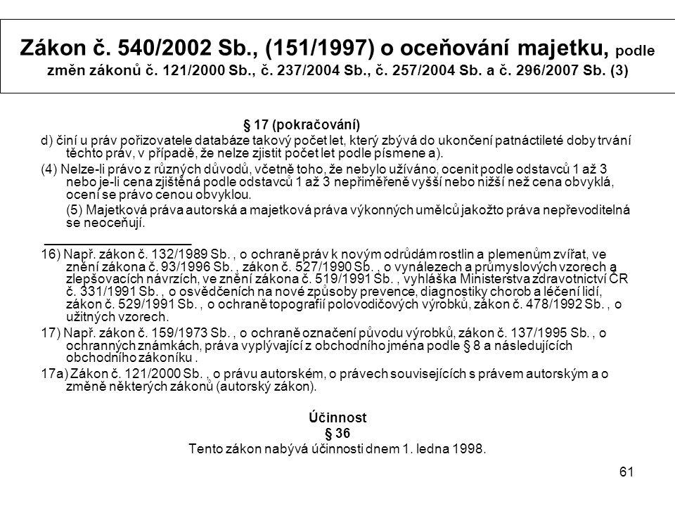 61 Zákon č. 540/2002 Sb., (151/1997) o oceňování majetku, podle změn zákonů č.