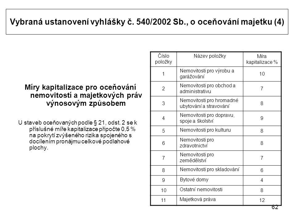 62 Vybraná ustanovení vyhlášky č.