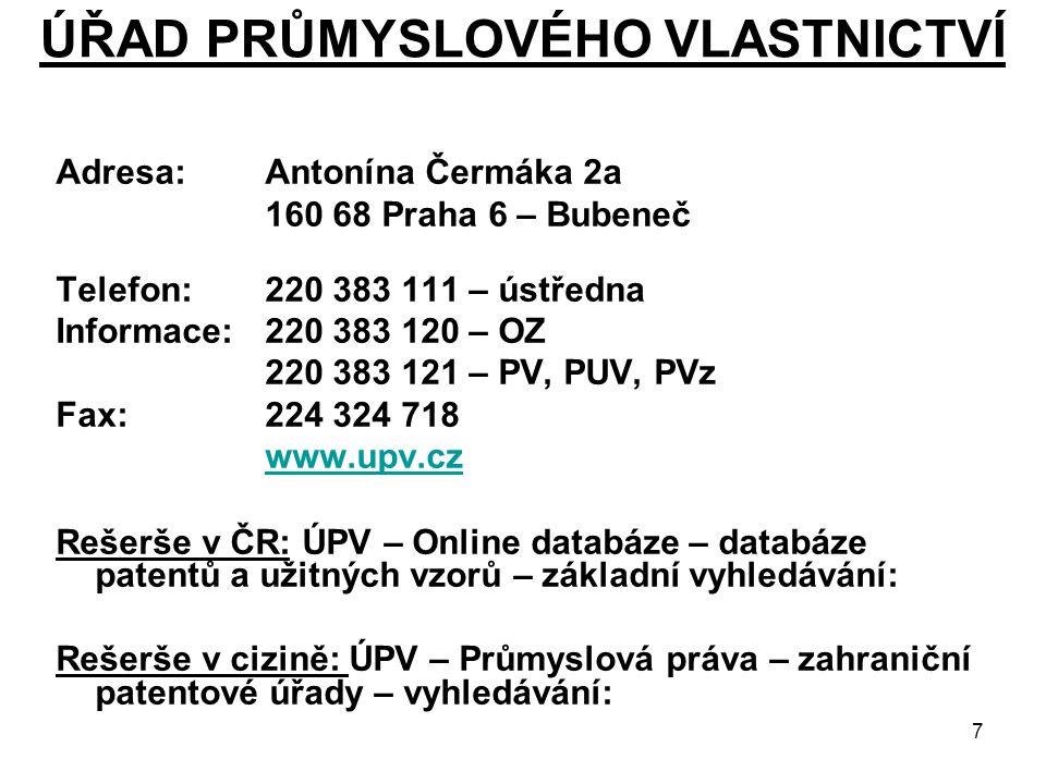 28 ZÁKLADNÍ SPRÁVNÍ POPLATKY NA ZAHRANIČNÍ OCHRANU K 1.1.2008 (2) EP – PŘIHLÁŠKY vynálezů a užitných vzorů – lze podat i v Praze Přihlašovací poplatek za 1 přihlášku 180 EUR (100 EUR elektr.) Rešeršní poplatek (úplný průzkum)do 10 nároků1 000 EUR za každý další nárok 45 EUR Poplatek za určení pro každý smluvní stát-7x poplatek platí pro všechny 85 EUR Poplatek za určení pro Švýcarsko a Lichtenštejnsko je dohromady 85 EUR Poplatek za rozšíření o 1 stát102 EUR Příplatek za pozdní platbu správního poplatku maximálně680 EUR (nebo 50 % nezaplacených poplatků) Poplatek za rešerši za evropskou nebo doplňující evropskou rešerši Pro přihlášky podané před 1.7.2005760 EUR Pro přihlášky podané po 1.7.2005 1 050 EUR Poplatek za mezinárodní rešerši700 EUR