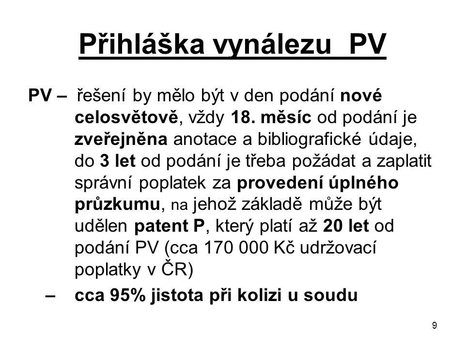 9 Přihláška vynálezu PV PV – řešení by mělo být v den podání nové celosvětově, vždy 18.