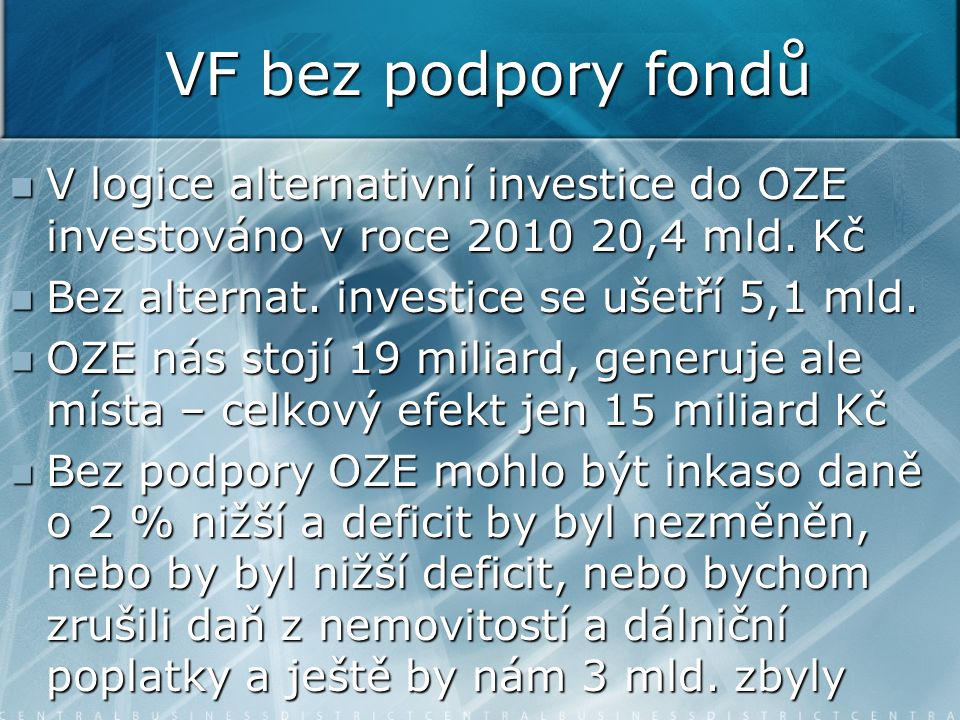 VF bez podpory fondů V logice alternativní investice do OZE investováno v roce 2010 20,4 mld. Kč V logice alternativní investice do OZE investováno v