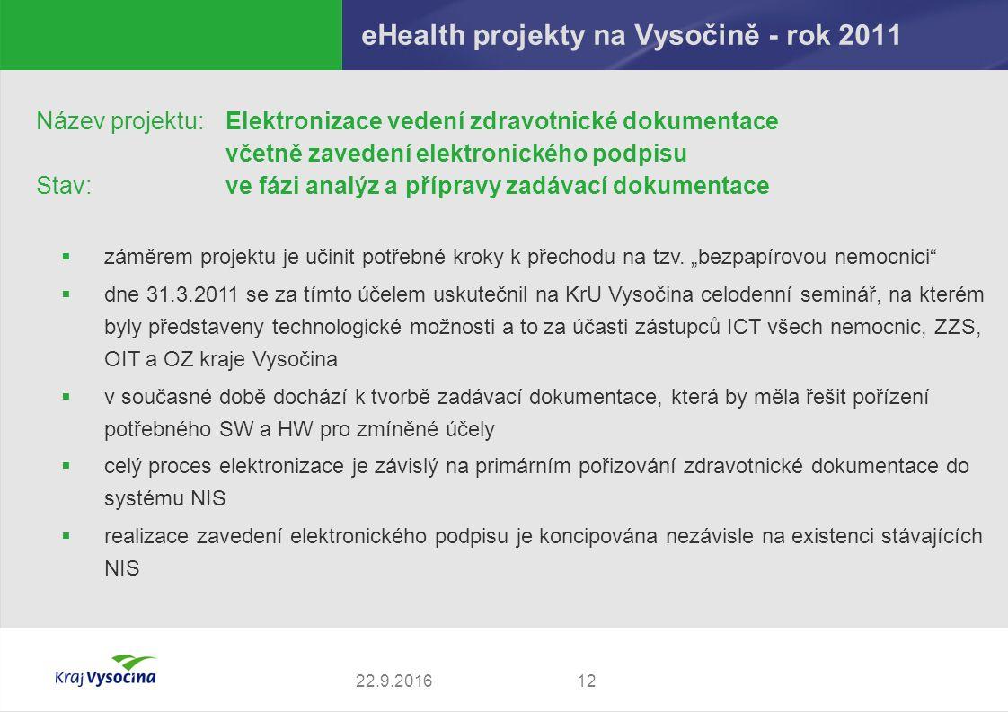 eHealth projekty na Vysočině - rok 2011 1222.9.2016 Název projektu: Elektronizace vedení zdravotnické dokumentace včetně zavedení elektronického podpi