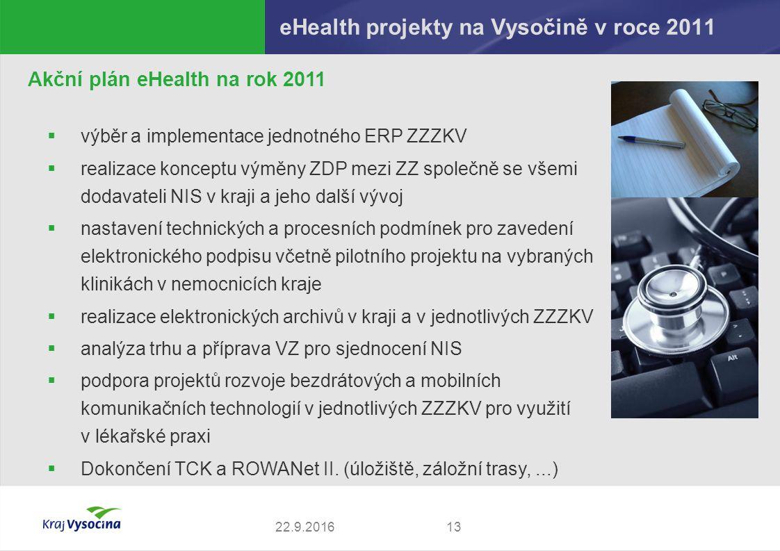 eHealth projekty na Vysočině v roce 2011 1322.9.2016 Akční plán eHealth na rok 2011  výběr a implementace jednotného ERP ZZZKV  realizace konceptu výměny ZDP mezi ZZ společně se všemi dodavateli NIS v kraji a jeho další vývoj  nastavení technických a procesních podmínek pro zavedení elektronického podpisu včetně pilotního projektu na vybraných klinikách v nemocnicích kraje  realizace elektronických archivů v kraji a v jednotlivých ZZZKV  analýza trhu a příprava VZ pro sjednocení NIS  podpora projektů rozvoje bezdrátových a mobilních komunikačních technologií v jednotlivých ZZZKV pro využití v lékařské praxi  Dokončení TCK a ROWANet II.