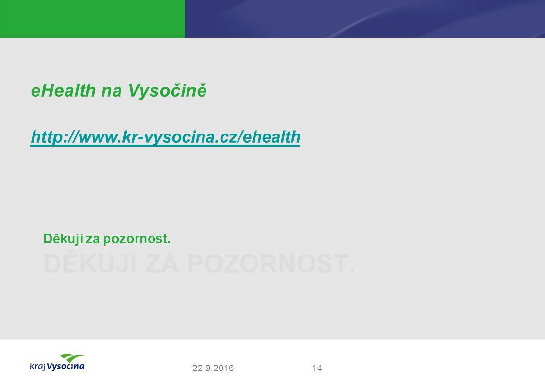 DĚKUJI ZA POZORNOST. Děkuji za pozornost. 1422.9.2016 eHealth na Vysočině http://www.kr-vysocina.cz/ehealth