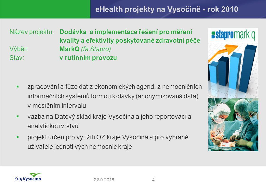 eHealth projekty na Vysočině - rok 2010 422.9.2016 Název projektu: Dodávka a implementace řešení pro měření kvality a efektivity poskytované zdravotní