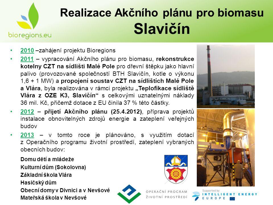 """Realizace Akčního plánu pro biomasu Slavičín 2010 –zahájení projektu Bioregions 2011 – vypracování Akčního plánu pro biomasu, rekonstrukce kotelny CZT na sídlišti Malé Pole pro dřevní štěpku jako hlavní palivo (provozované společností BTH Slavičín, kotle o výkonu 1,6 + 1 MW) a propojení soustav CZT na sídlištích Malé Pole a Vlára, byla realizována v rámci projektu """"Teplofikace sídliště Vlára z OZE K3, Slavičín s celkovými uznatelnými náklady 36 mil."""