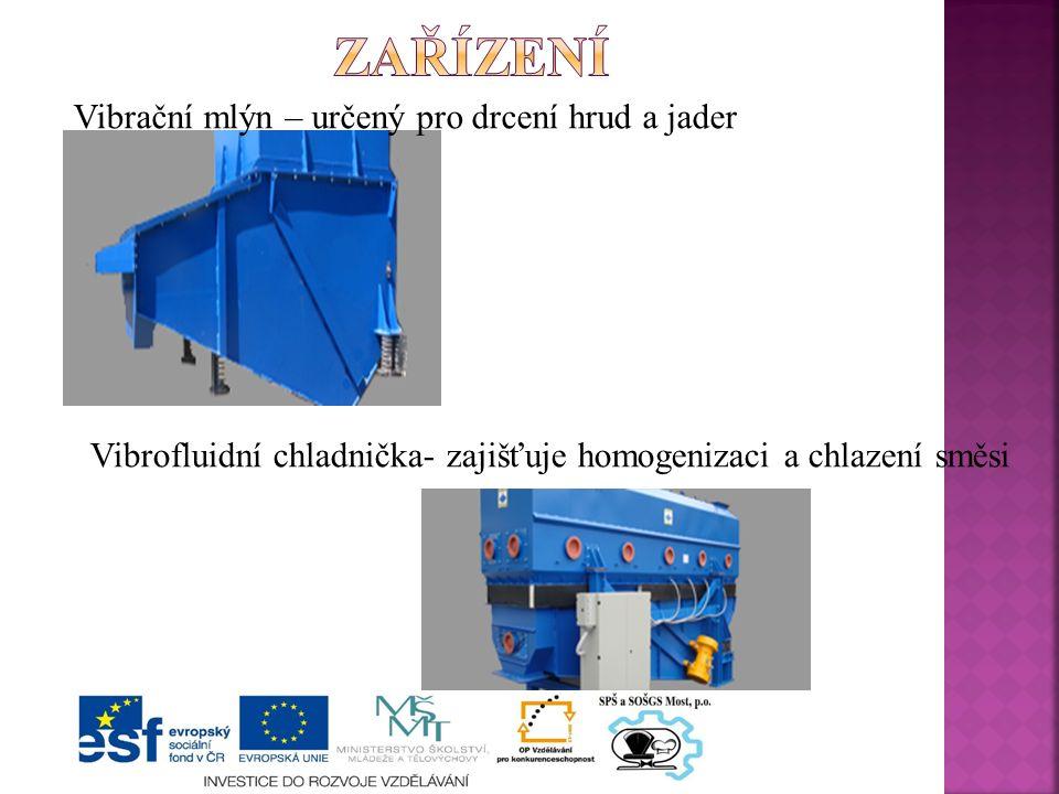 Vibrační mlýn – určený pro drcení hrud a jader Vibrofluidní chladnička- zajišťuje homogenizaci a chlazení směsi