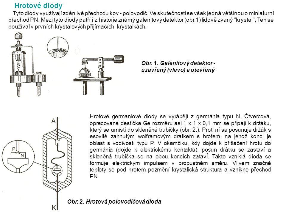 Hrotové diody Tyto diody využívají zdánlivě přechodu kov - polovodič.