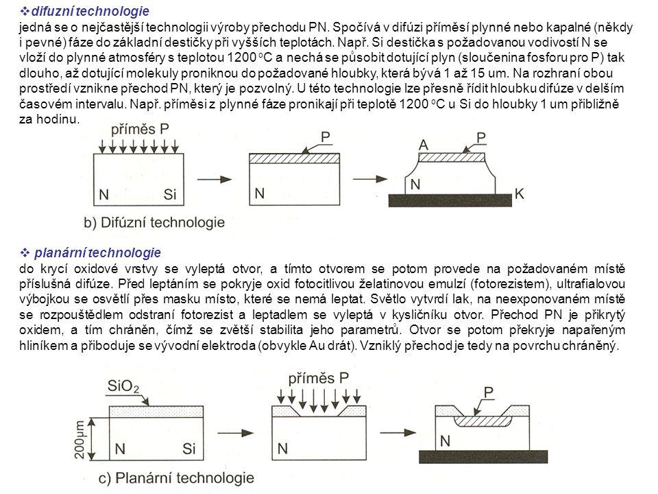  difuzní technologie jedná se o nejčastější technologii výroby přechodu PN.