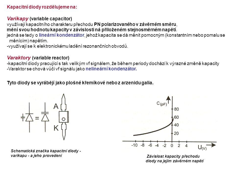 Kapacitní diody rozdělujeme na: Varikapy (variable capacitor) využívají kapacitního charakteru přechodu PN polarizovaného v závěrném směru, mění svou hodnotu kapacity v závislosti ná přiloženém stejnosměrném napětí.