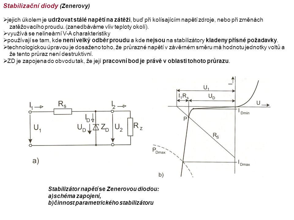 Stabilizační diody (Zenerovy)  jejich úkolem je udržovat stálé napětí na zátěži, buď při kolísajícím napětí zdroje, nebo při změnách zatěžovacího proudu.
