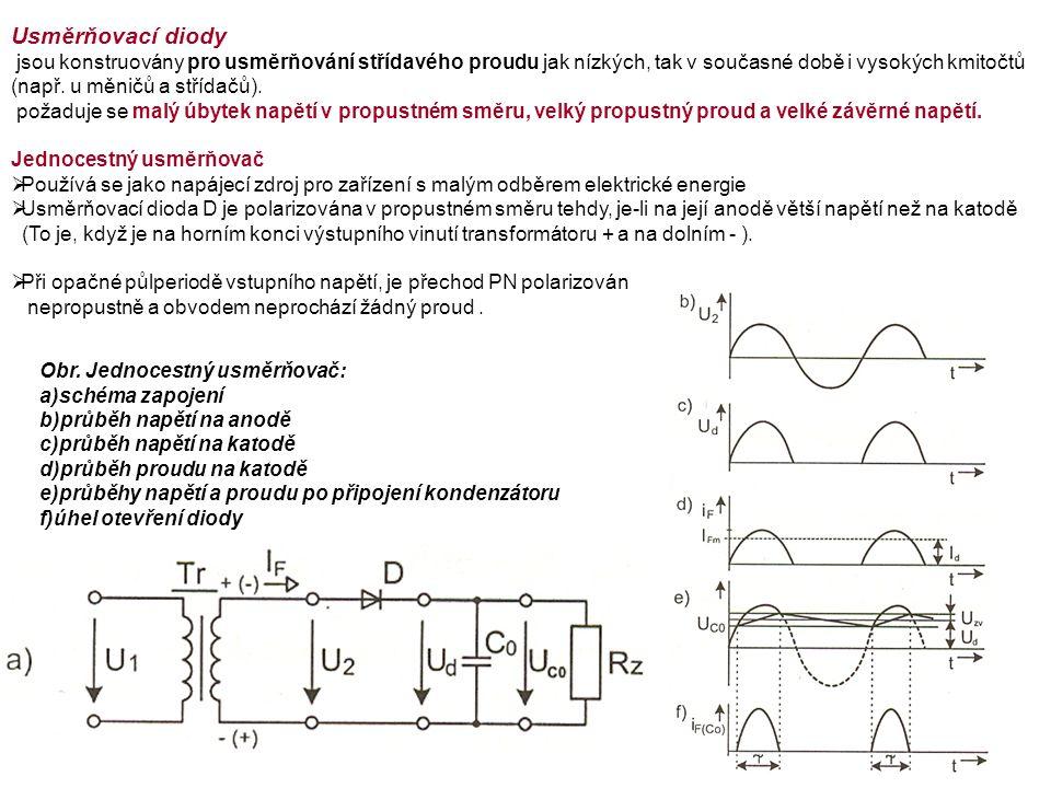 Usměrňovací diody jsou konstruovány pro usměrňování střídavého proudu jak nízkých, tak v současné době i vysokých kmitočtů (např.