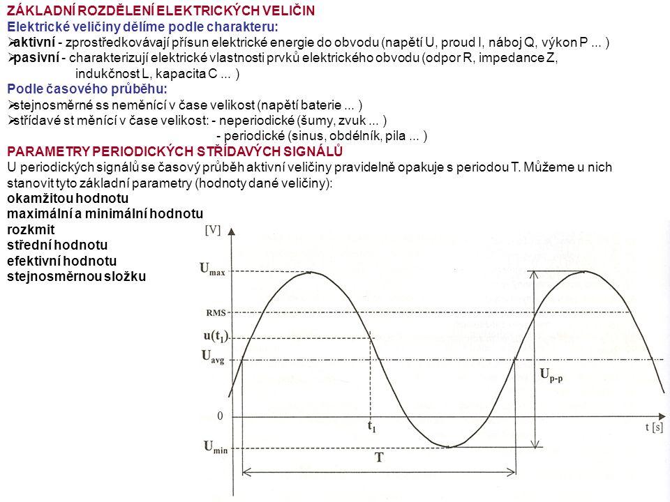 ZÁKLADNÍ ROZDĚLENÍ ELEKTRICKÝCH VELIČIN Elektrické veličiny dělíme podle charakteru:  aktivní - zprostředkovávají přísun elektrické energie do obvodu (napětí U, proud I, náboj Q, výkon P...