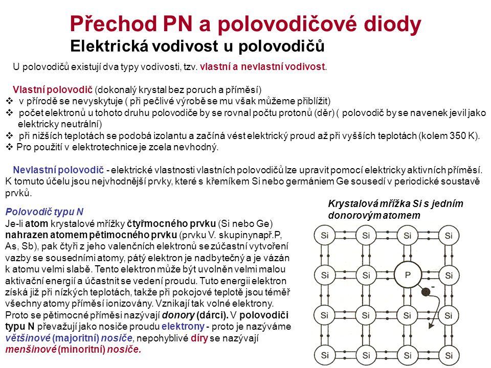 Přechod PN a polovodičové diody Elektrická vodivost u polovodičů U polovodičů existují dva typy vodivosti, tzv.
