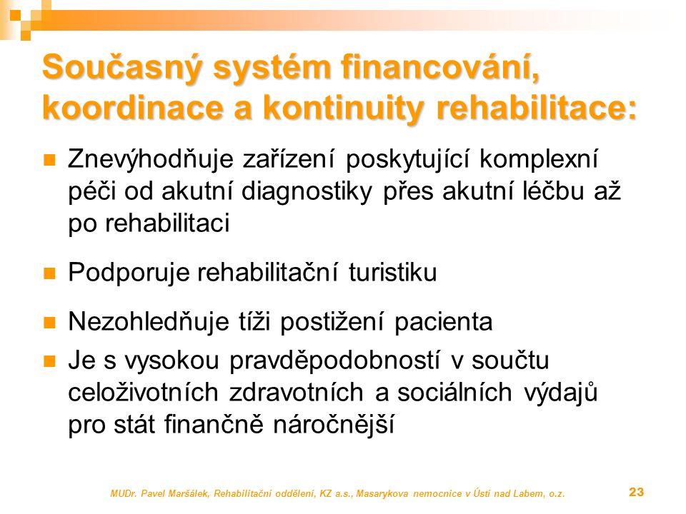 Současný systém financování, koordinace a kontinuity rehabilitace: Znevýhodňuje zařízení poskytující komplexní péči od akutní diagnostiky přes akutní léčbu až po rehabilitaci Podporuje rehabilitační turistiku Nezohledňuje tíži postižení pacienta Je s vysokou pravděpodobností v součtu celoživotních zdravotních a sociálních výdajů pro stát finančně náročnější MUDr.