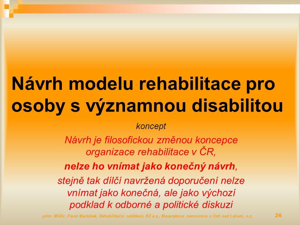 Návrh modelu rehabilitace pro osoby s významnou disabilitou koncept Návrh je filosofickou změnou koncepce organizace rehabilitace v ČR, nelze ho vníma