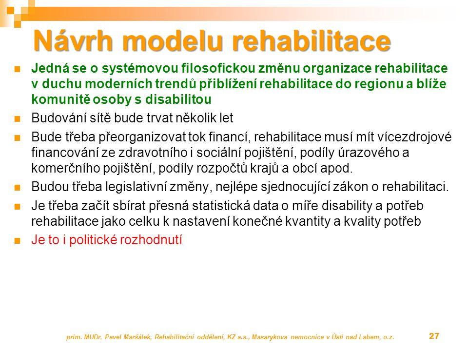 Návrh modelu rehabilitace Jedná se o systémovou filosofickou změnu organizace rehabilitace v duchu moderních trendů přiblížení rehabilitace do regionu