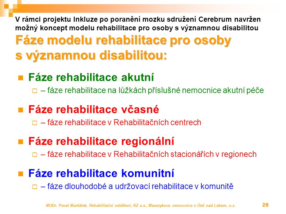 Fáze modelu rehabilitace pro osoby s významnou disabilitou: V rámci projektu Inkluze po poranění mozku sdružení Cerebrum navržen možný koncept modelu