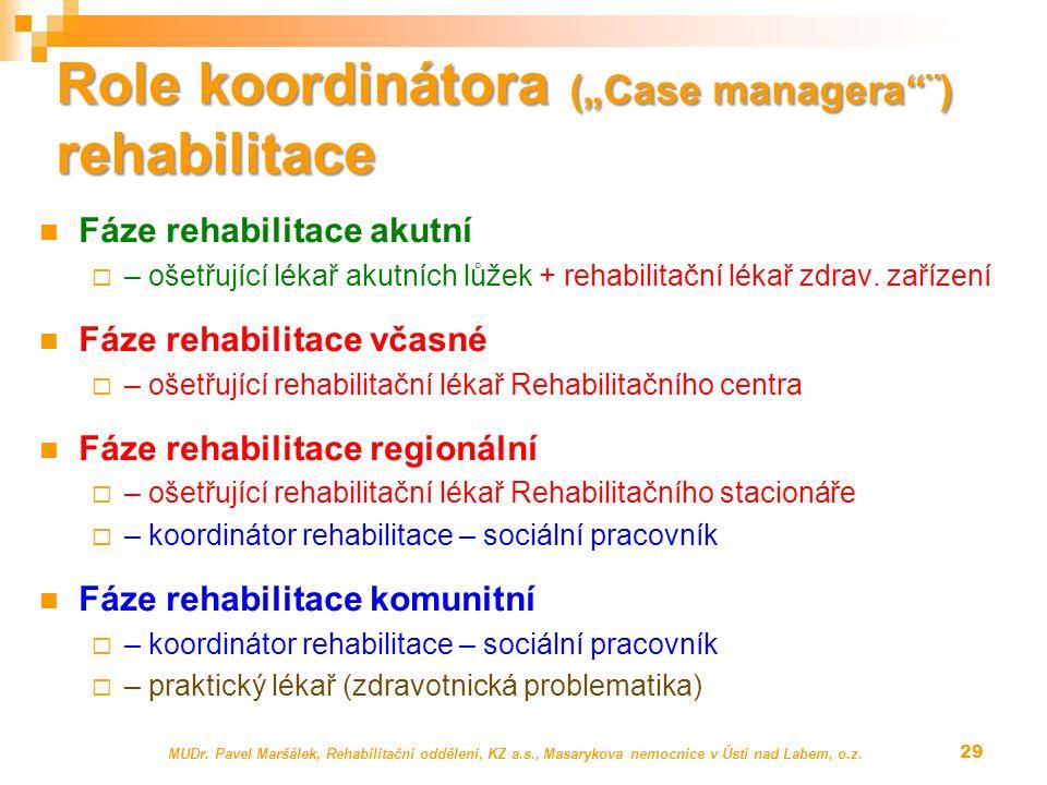 """Role koordinátora (""""Case managera""""¨) rehabilitace Fáze rehabilitace akutní  – ošetřující lékař akutních lůžek + rehabilitační lékař zdrav. zařízení F"""