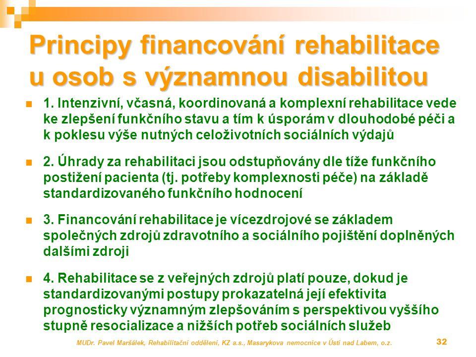 Principy financování rehabilitace u osob s významnou disabilitou 1. Intenzivní, včasná, koordinovaná a komplexní rehabilitace vede ke zlepšení funkční