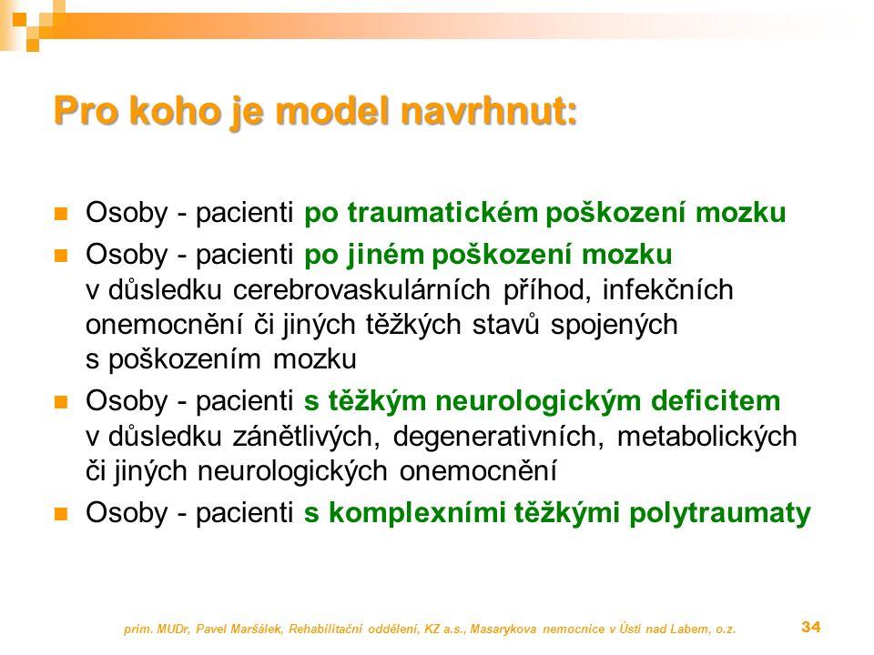 Pro koho je model navrhnut: Osoby - pacienti po traumatickém poškození mozku Osoby - pacienti po jiném poškození mozku v důsledku cerebrovaskulárních příhod, infekčních onemocnění či jiných těžkých stavů spojených s poškozením mozku Osoby - pacienti s těžkým neurologickým deficitem v důsledku zánětlivých, degenerativních, metabolických či jiných neurologických onemocnění Osoby - pacienti s komplexními těžkými polytraumaty prim.