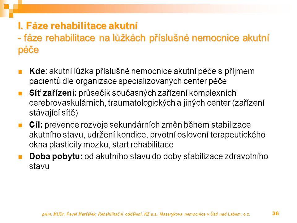I. Fáze rehabilitace akutní - fáze rehabilitace na lůžkách příslušné nemocnice akutní péče Kde: akutní lůžka příslušné nemocnice akutní péče s příjmem